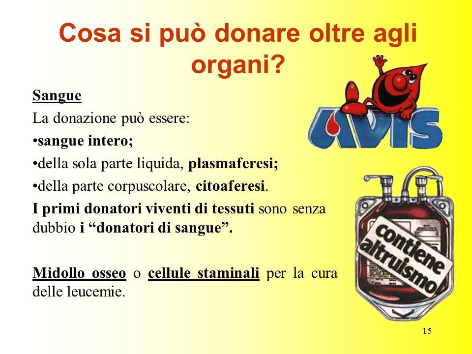 Cosa si può donare oltre agli organi