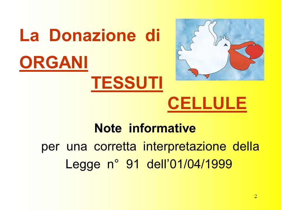 La Donazione di ORGANI TESSUTI CELLULE