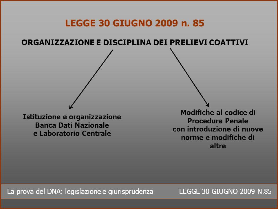 LEGGE 30 GIUGNO 2009 n. 85 ORGANIZZAZIONE E DISCIPLINA DEI PRELIEVI COATTIVI