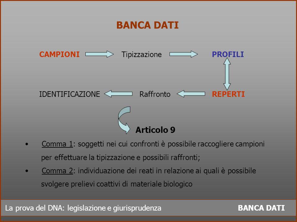 BANCA DATI Articolo 9 CAMPIONI Tipizzazione PROFILI