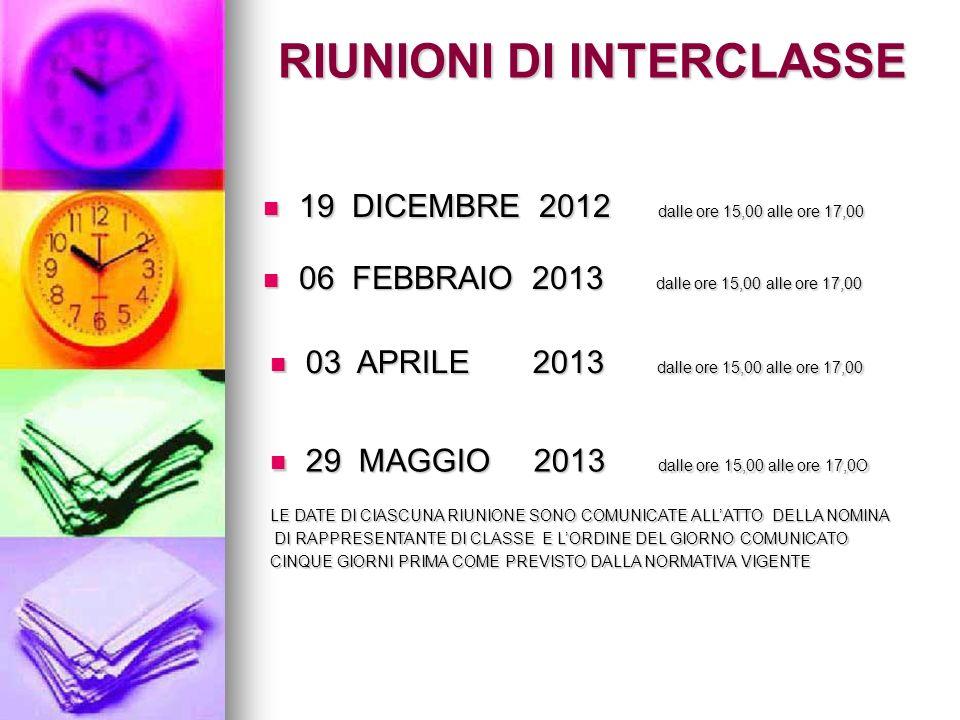 RIUNIONI DI INTERCLASSE