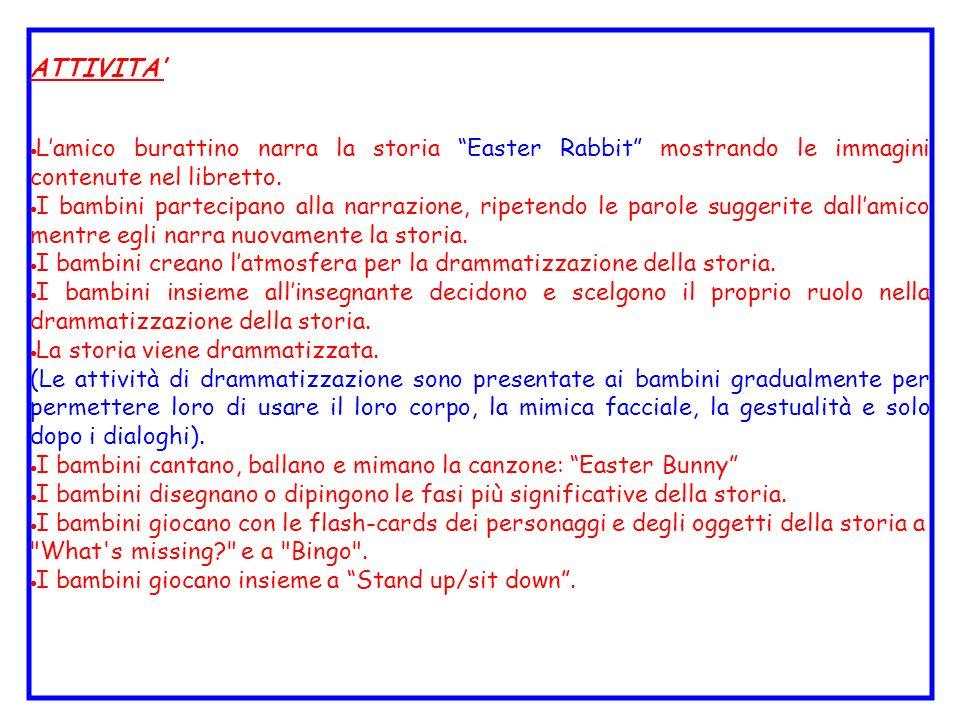 ATTIVITA' L'amico burattino narra la storia Easter Rabbit mostrando le immagini contenute nel libretto.