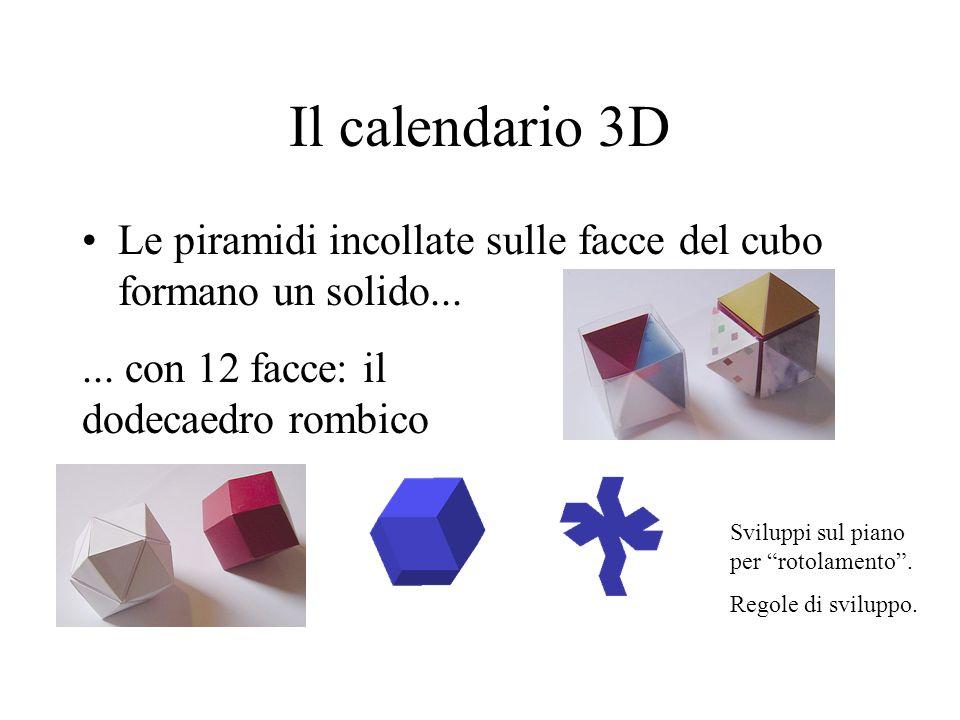 Il calendario 3D Le piramidi incollate sulle facce del cubo formano un solido... ... con 12 facce: il dodecaedro rombico.