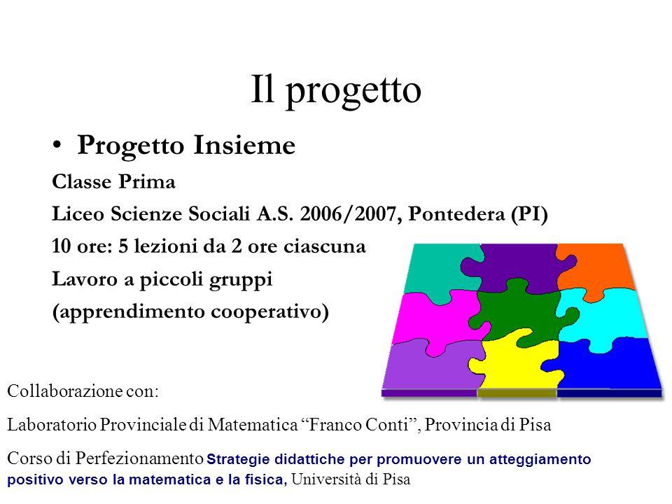Il progetto Progetto Insieme Classe Prima