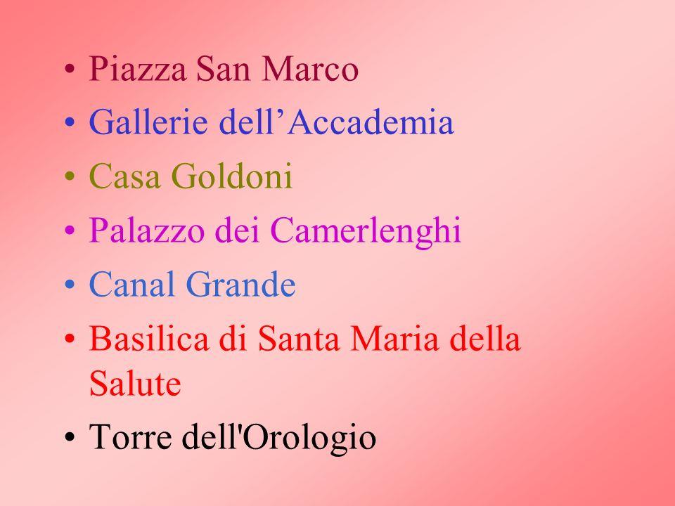 Piazza San Marco Gallerie dell'Accademia. Casa Goldoni. Palazzo dei Camerlenghi. Canal Grande. Basilica di Santa Maria della Salute.