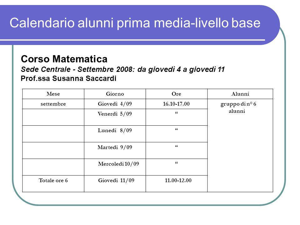 Calendario alunni prima media-livello base