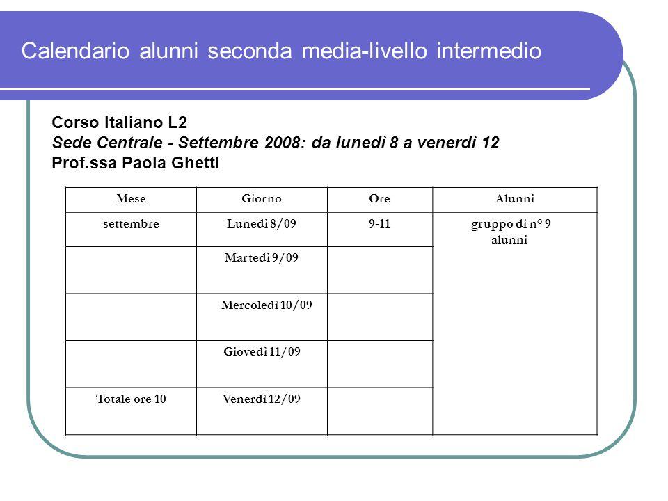 Calendario alunni seconda media-livello intermedio