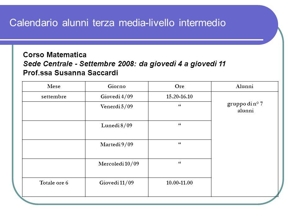 Calendario alunni terza media-livello intermedio