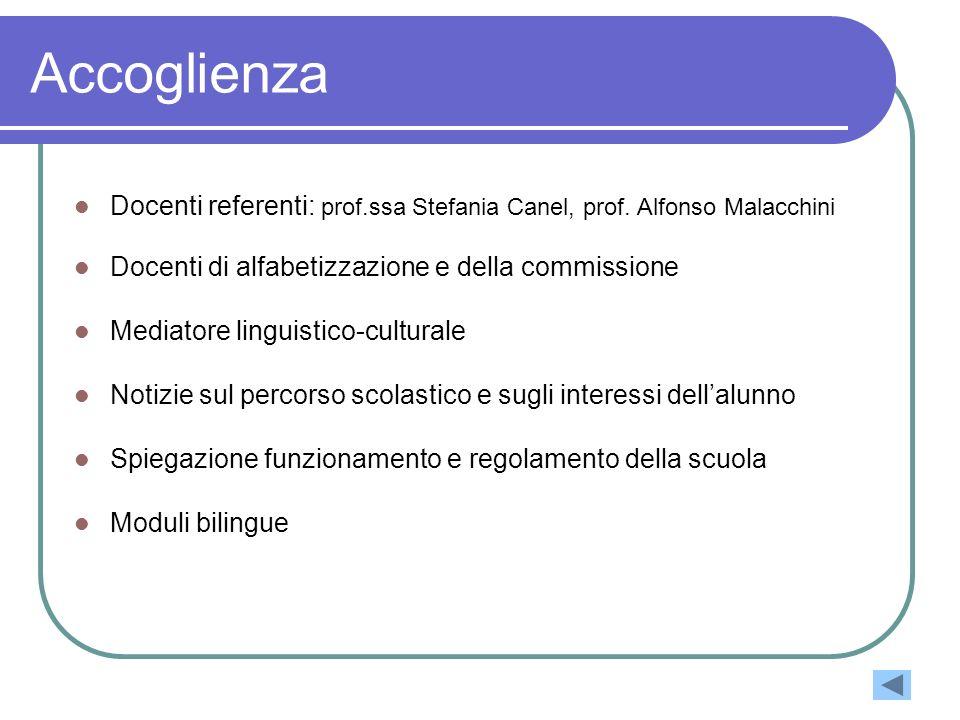 Accoglienza Docenti referenti: prof.ssa Stefania Canel, prof. Alfonso Malacchini. Docenti di alfabetizzazione e della commissione.