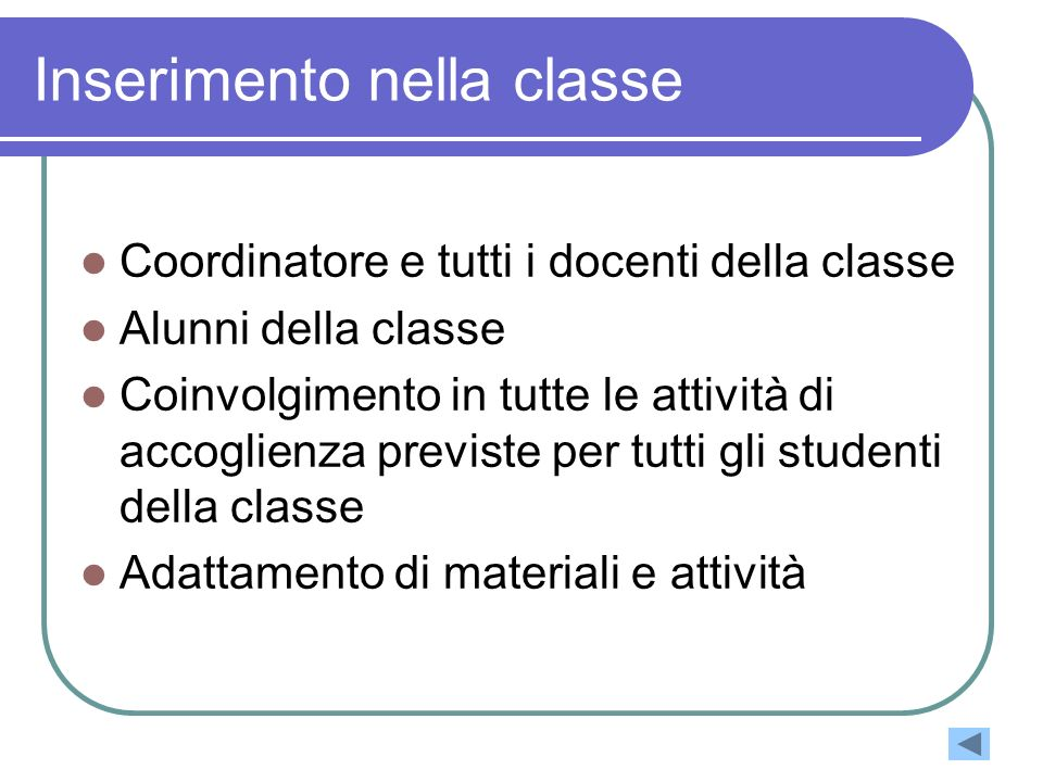 Inserimento nella classe