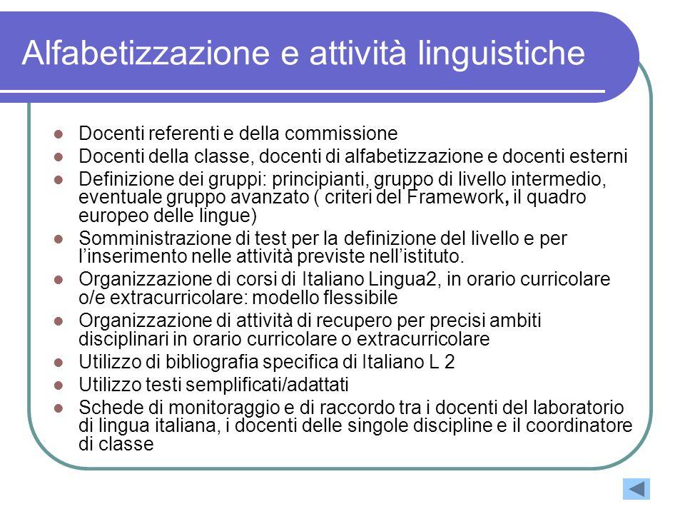 Alfabetizzazione e attività linguistiche