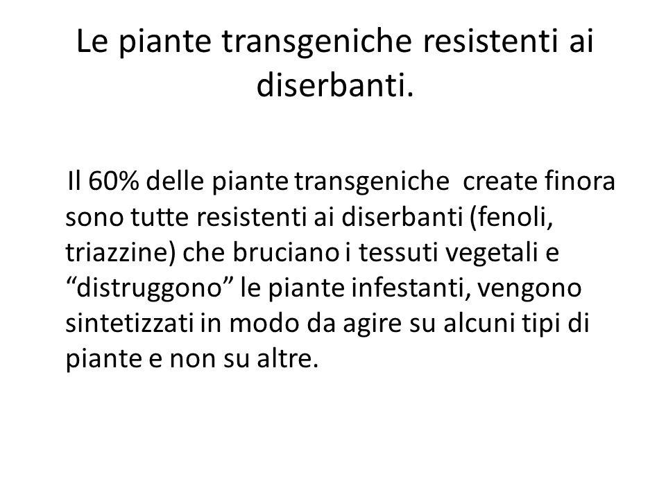 Le piante transgeniche resistenti ai diserbanti.