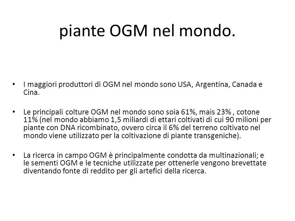 piante OGM nel mondo. I maggiori produttori di OGM nel mondo sono USA, Argentina, Canada e Cina.