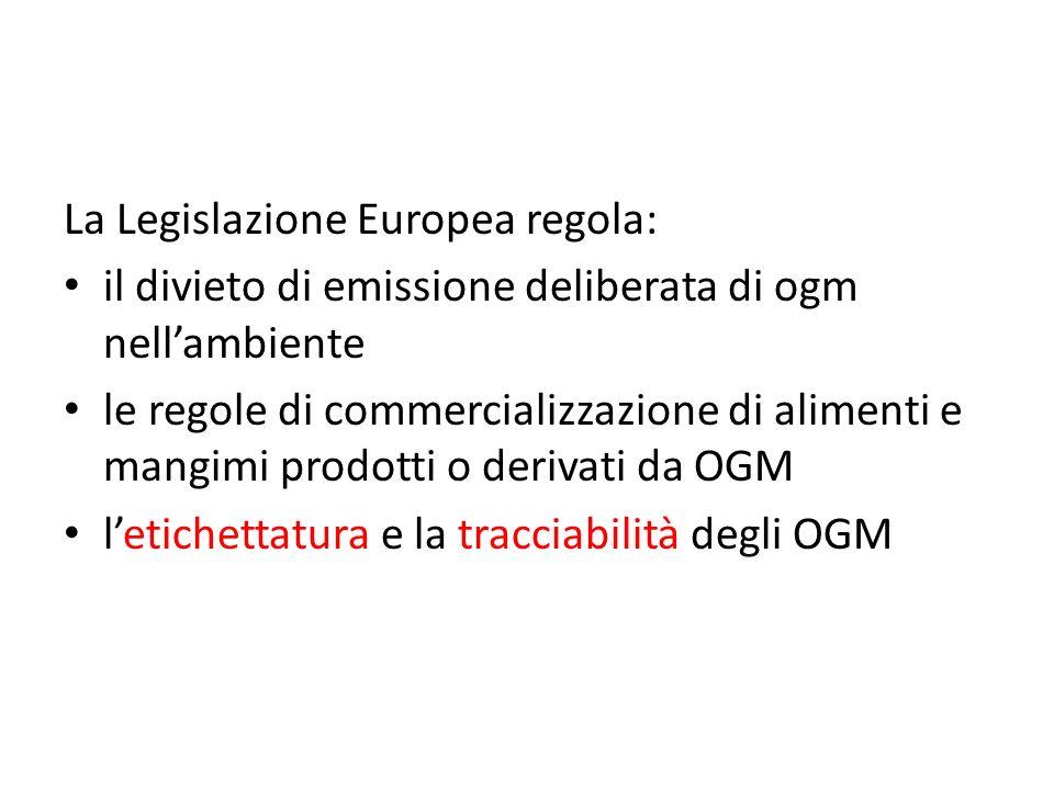 La Legislazione Europea regola: