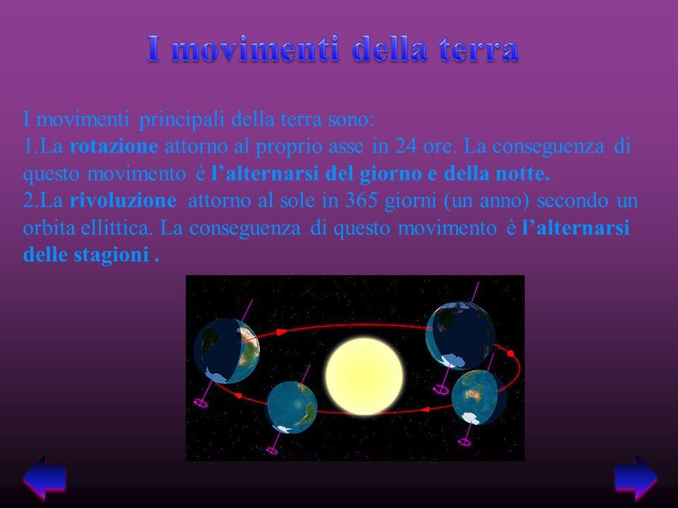 I movimenti principali della terra sono: