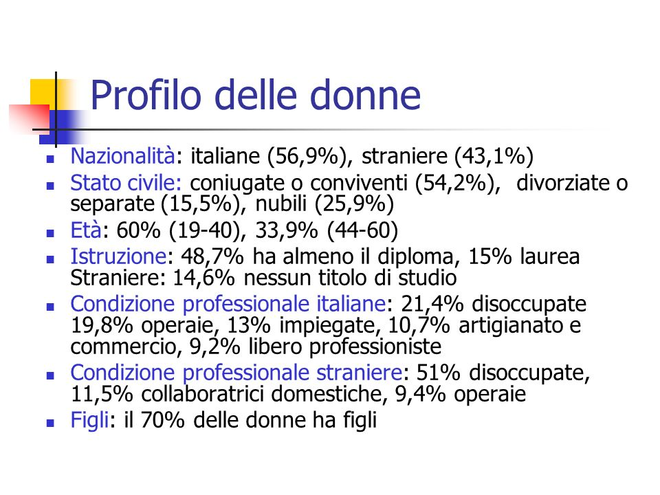 Profilo delle donne Nazionalità: italiane (56,9%), straniere (43,1%)