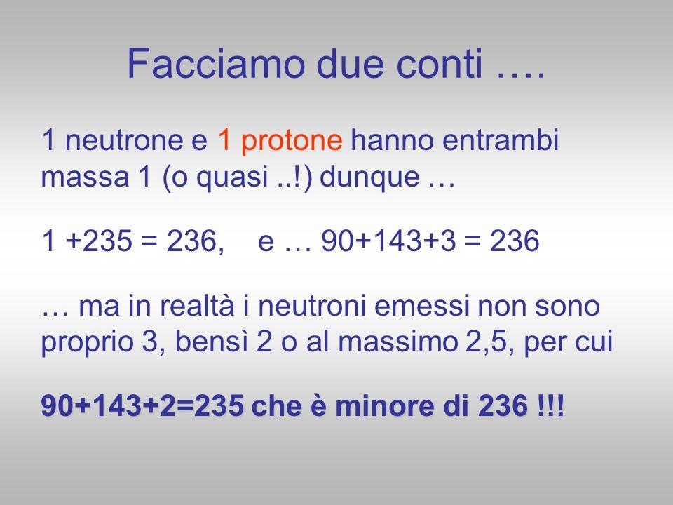 Facciamo due conti …. 1 neutrone e 1 protone hanno entrambi massa 1 (o quasi ..!) dunque … 1 +235 = 236, e … 90+143+3 = 236.