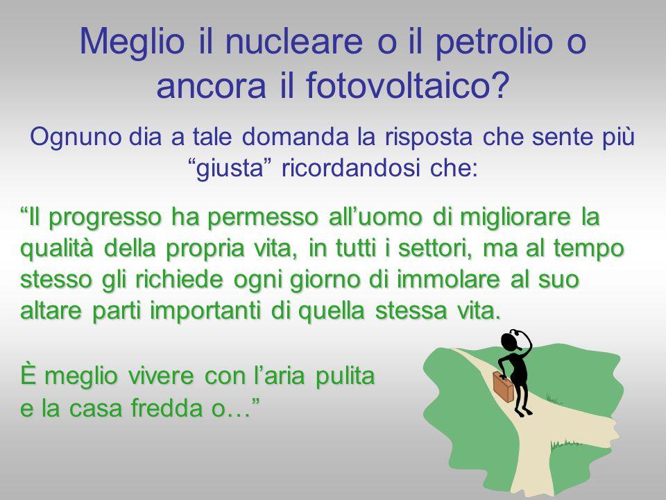 Meglio il nucleare o il petrolio o ancora il fotovoltaico