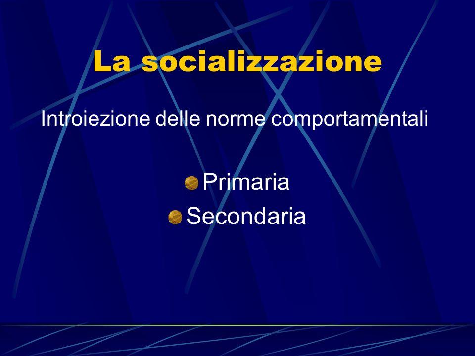 La socializzazione Primaria Secondaria