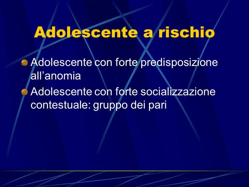 Adolescente a rischio Adolescente con forte predisposizione all'anomia