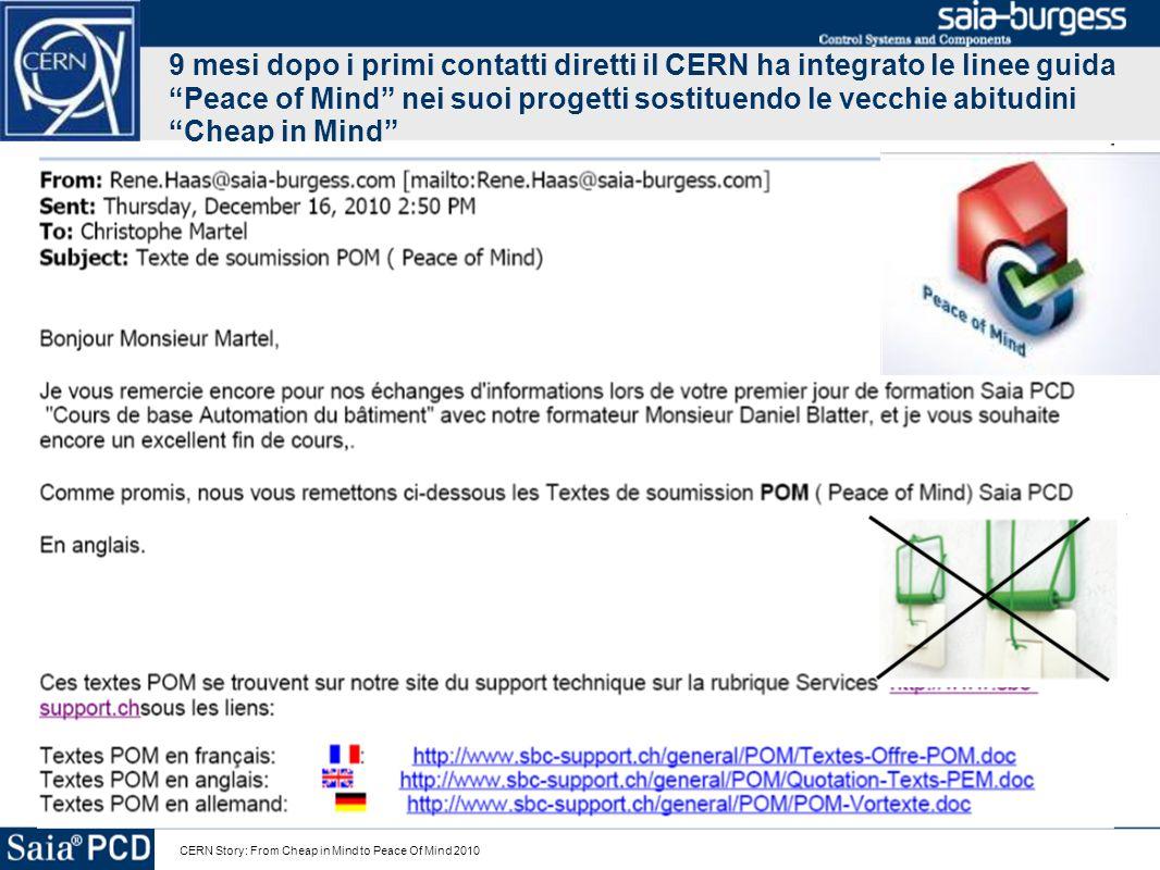 9 mesi dopo i primi contatti diretti il CERN ha integrato le linee guida Peace of Mind nei suoi progetti sostituendo le vecchie abitudini Cheap in Mind