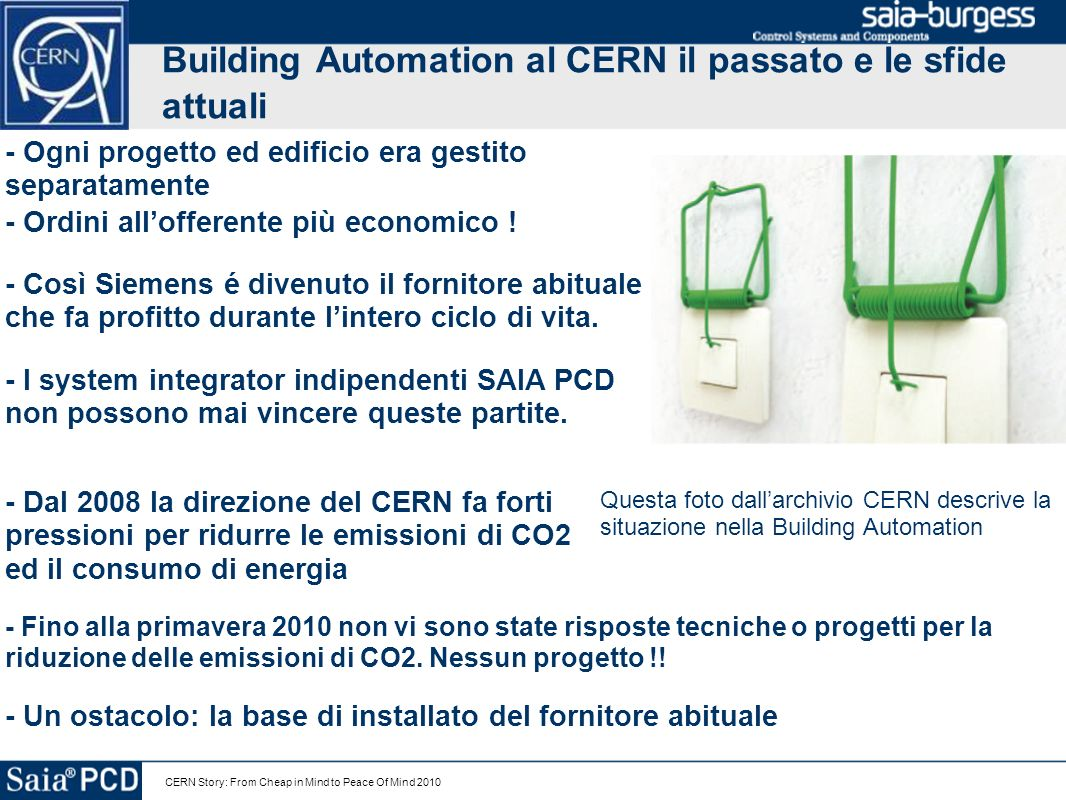 Building Automation al CERN il passato e le sfide attuali