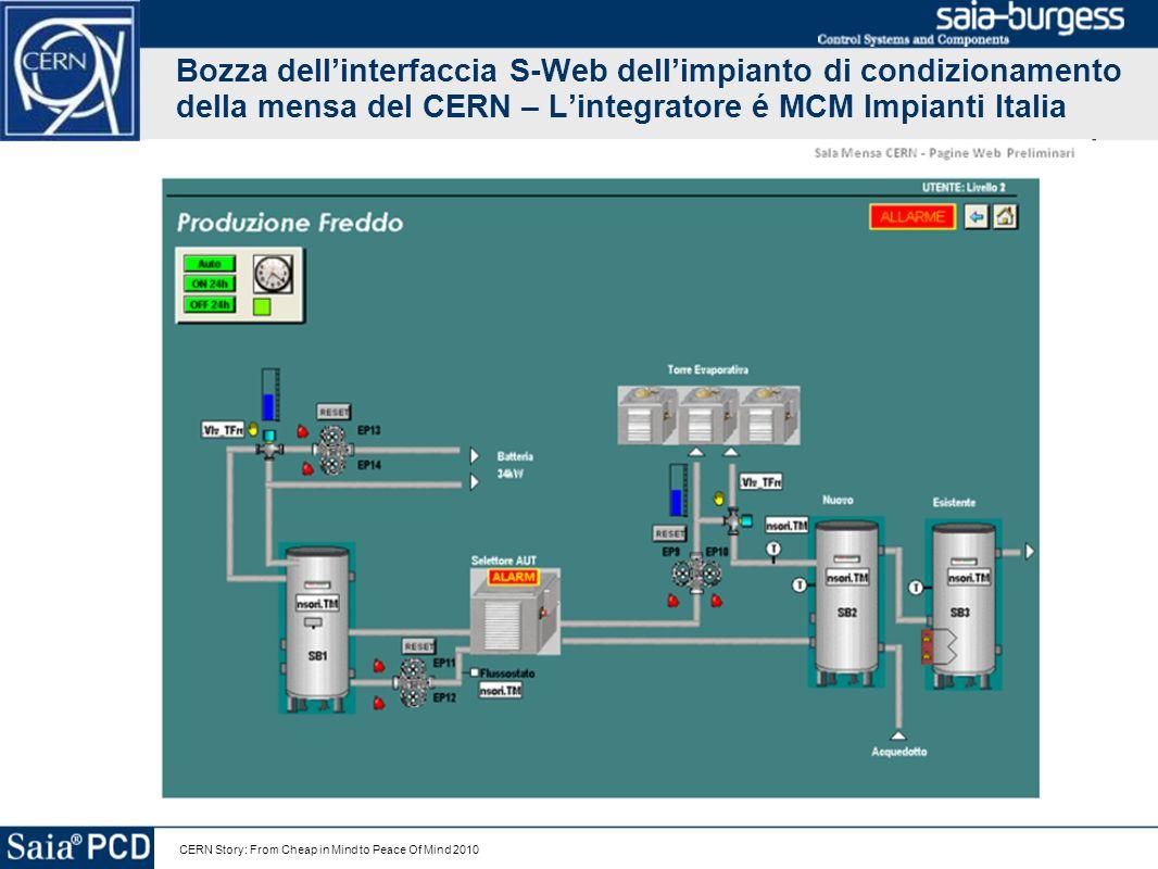 Bozza dell'interfaccia S-Web dell'impianto di condizionamento della mensa del CERN – L'integratore é MCM Impianti Italia