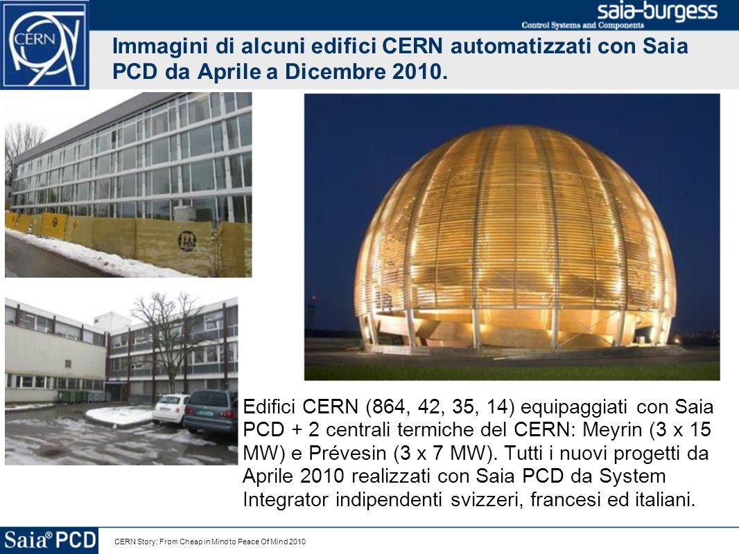 Immagini di alcuni edifici CERN automatizzati con Saia PCD da Aprile a Dicembre 2010.