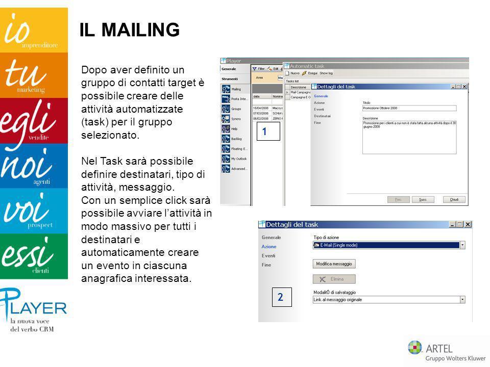 IL MAILING Dopo aver definito un gruppo di contatti target è possibile creare delle attività automatizzate (task) per il gruppo selezionato.