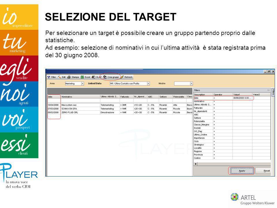 SELEZIONE DEL TARGET Per selezionare un target è possibile creare un gruppo partendo proprio dalle statistiche.