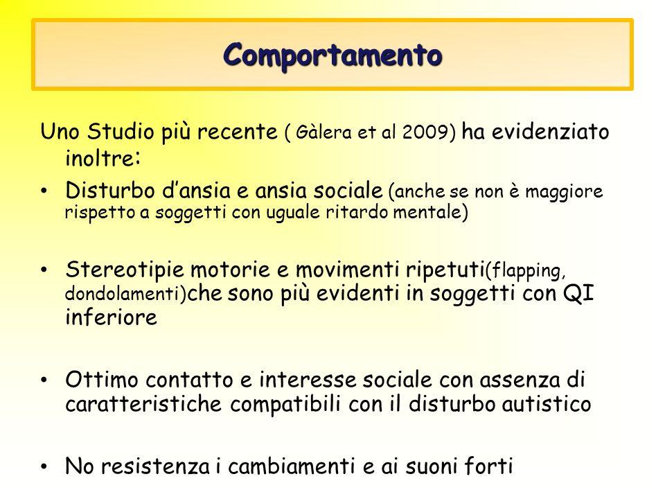 Comportamento Uno Studio più recente ( Gàlera et al 2009) ha evidenziato inoltre:
