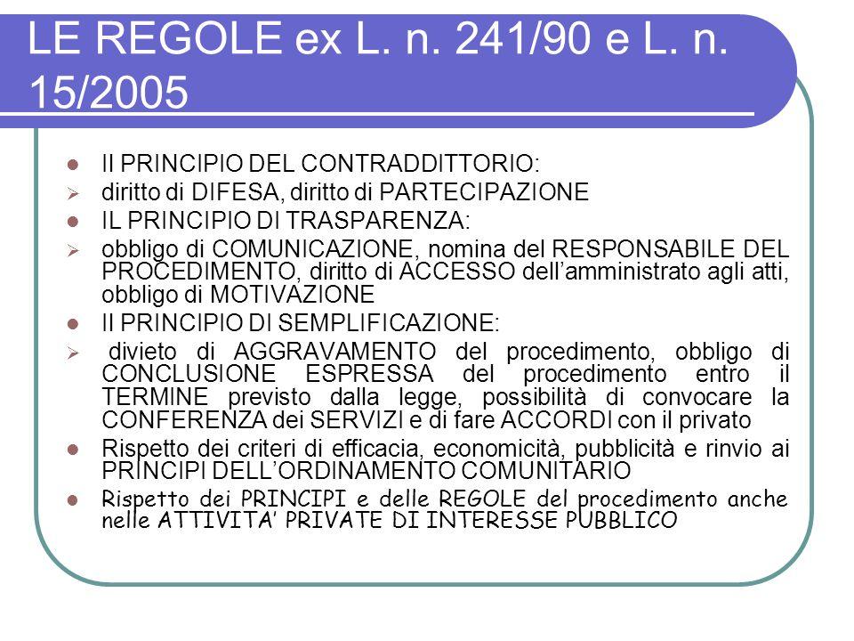 LE REGOLE ex L. n. 241/90 e L. n. 15/2005 Il PRINCIPIO DEL CONTRADDITTORIO: diritto di DIFESA, diritto di PARTECIPAZIONE.