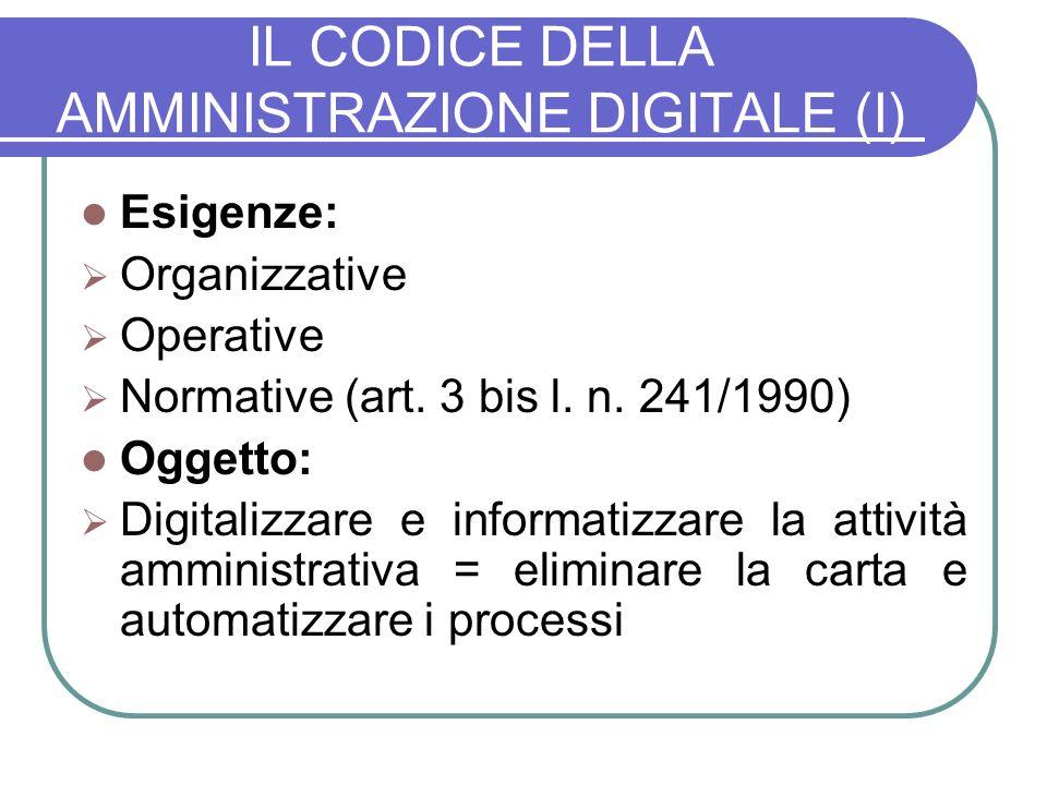 IL CODICE DELLA AMMINISTRAZIONE DIGITALE (I)