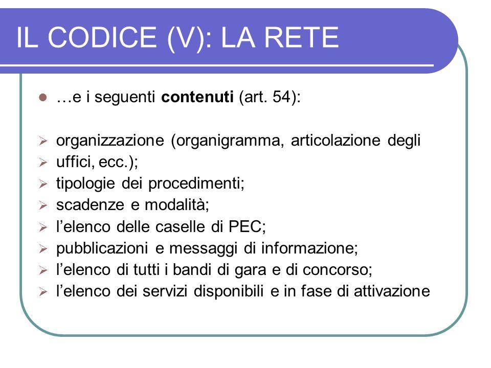 IL CODICE (V): LA RETE …e i seguenti contenuti (art. 54):