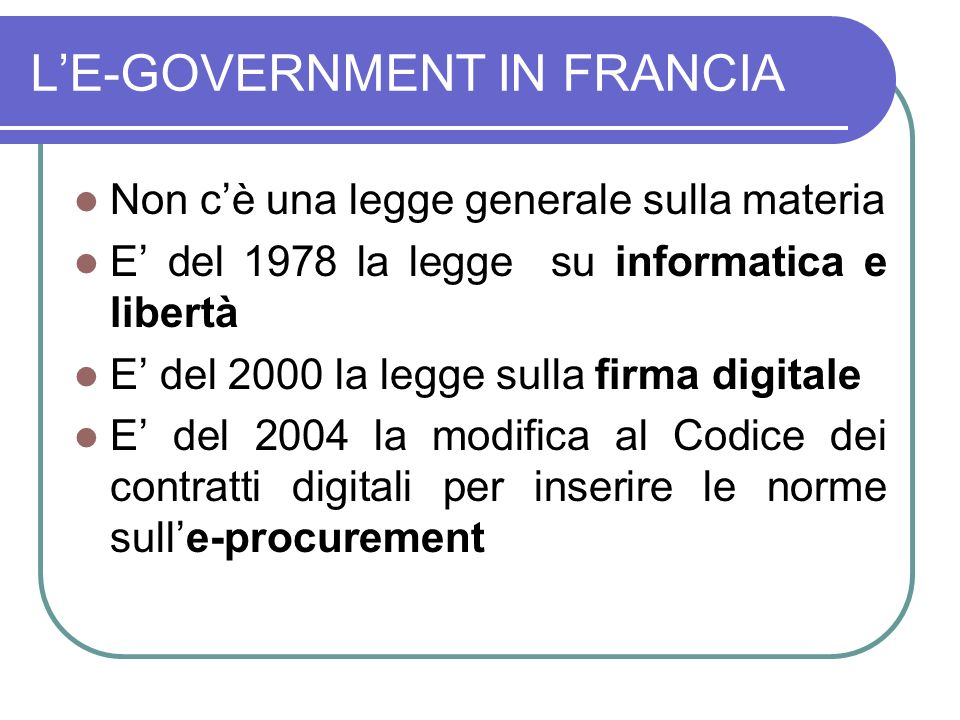 L'E-GOVERNMENT IN FRANCIA