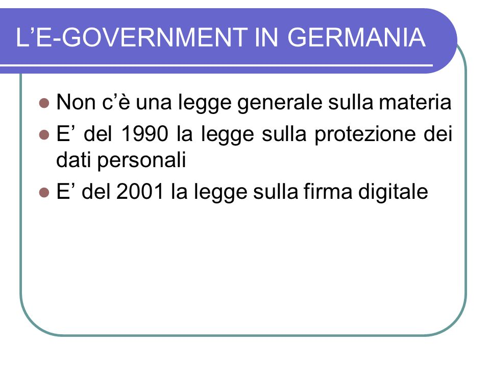 L'E-GOVERNMENT IN GERMANIA