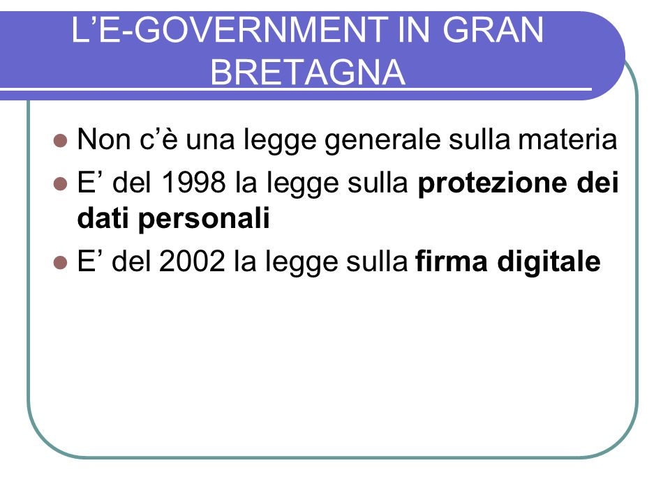 L'E-GOVERNMENT IN GRAN BRETAGNA