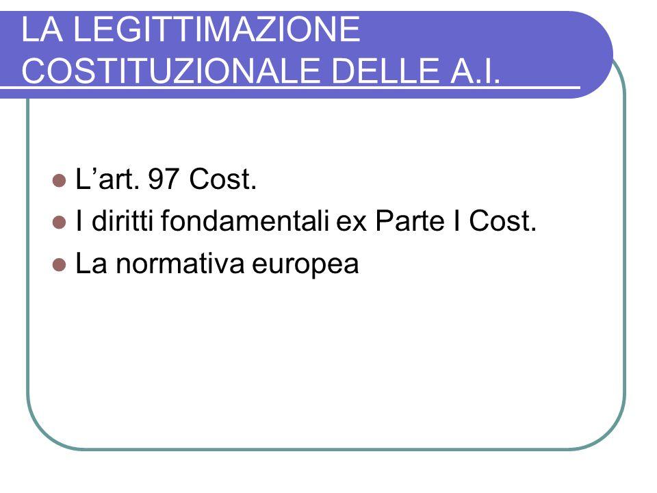LA LEGITTIMAZIONE COSTITUZIONALE DELLE A.I.