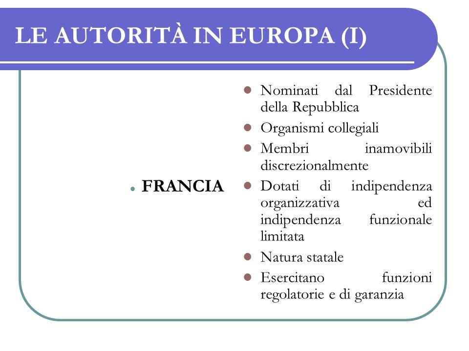 LE AUTORITÀ IN EUROPA (I)