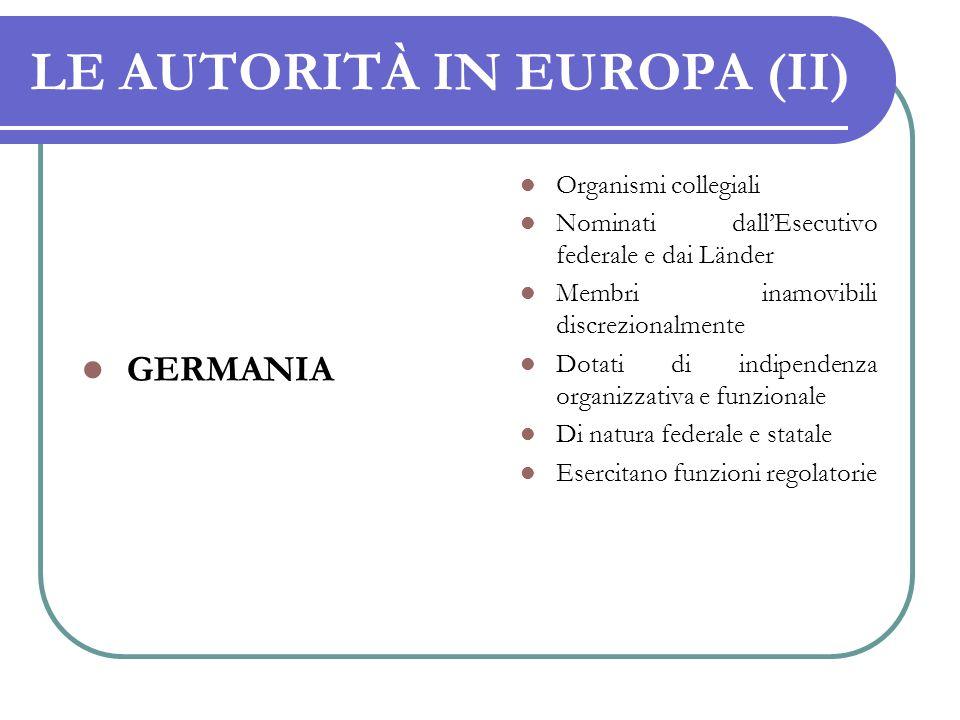 LE AUTORITÀ IN EUROPA (II)