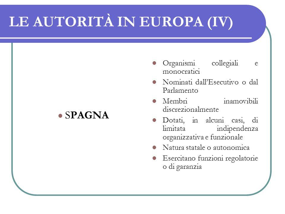 LE AUTORITÀ IN EUROPA (IV)
