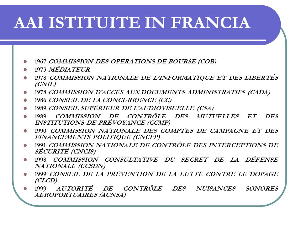 AAI ISTITUITE IN FRANCIA