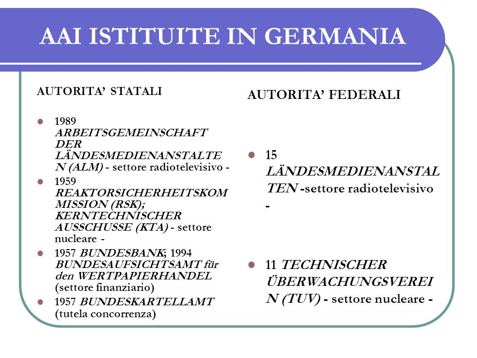 AAI ISTITUITE IN GERMANIA