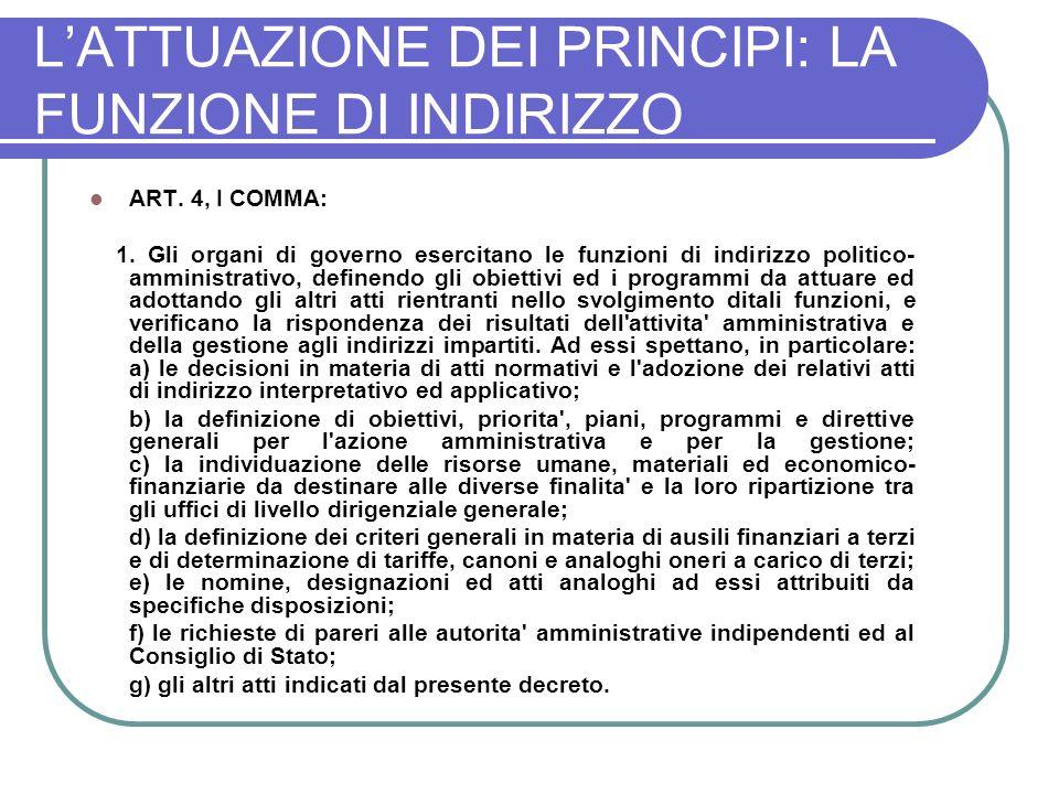 L'ATTUAZIONE DEI PRINCIPI: LA FUNZIONE DI INDIRIZZO