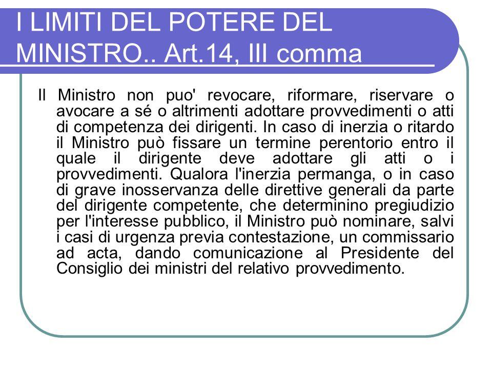 I LIMITI DEL POTERE DEL MINISTRO.. Art.14, III comma