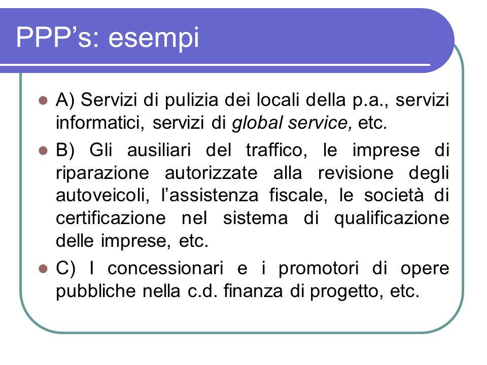 PPP's: esempi A) Servizi di pulizia dei locali della p.a., servizi informatici, servizi di global service, etc.