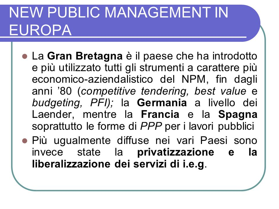 NEW PUBLIC MANAGEMENT IN EUROPA