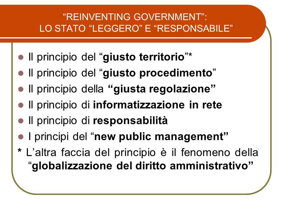 REINVENTING GOVERNMENT : LO STATO LEGGERO E RESPONSABILE