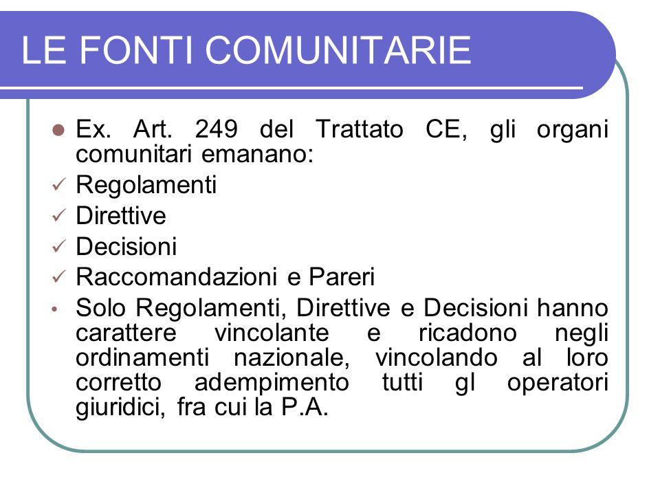 LE FONTI COMUNITARIE Ex. Art. 249 del Trattato CE, gli organi comunitari emanano: Regolamenti. Direttive.