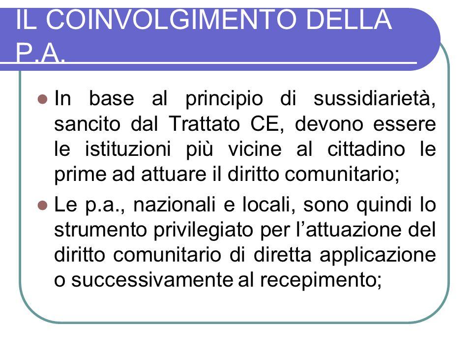 IL COINVOLGIMENTO DELLA P.A.